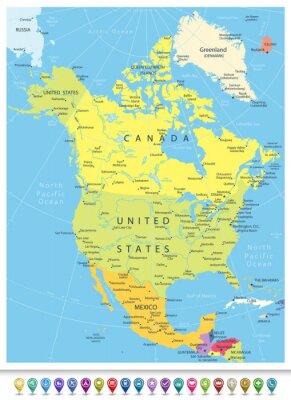 Adesivo Nord America dettagliate Political Map con le icone di navigazione