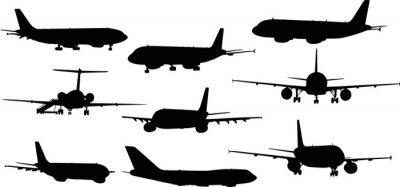 Adesivo Nove aerei sagome isolato su bianco