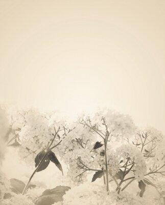 Adesivo Offuscata fiori seppia sfondo.