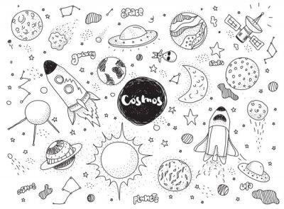 Adesivo oggetti cosmici impostati. disegnato a mano scarabocchi vettore. Rockets, pianeti, costellazioni, ufo, stelle, ecc tema spaziale.