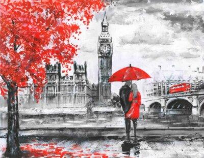 Adesivo .oil dipinto su tela, vista strada di Londra, fiume e bus sul ponte. Opera d'arte. Grande ben. l'uomo e la donna sotto un ombrello rosso