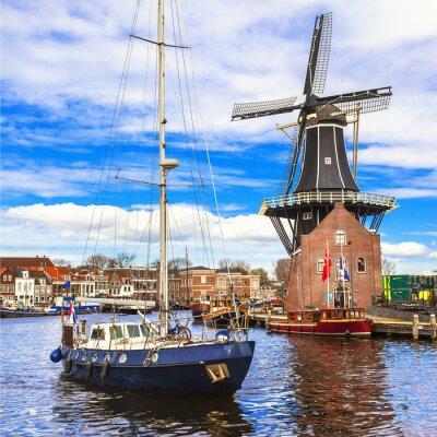 Adesivo Olanda, canali Haarlem '. mulino a vento e barche a vela