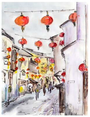 Adesivo Old town street in China, traditional chinese red lanterns