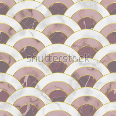 Adesivo Onda marmo senza cuciture. Astratto geometrico ripetizione di sfondo. Sfondo tradizionale asiatico, carta da parati di lusso con linee dorate, stampa tessile rosa e bianca, piastrella interna.