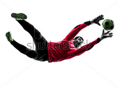 Adesivo one caucasian soccer player goalkeeper man catching ball in silhouette isolated white background