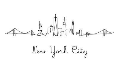 Adesivo One line style New York City skyline. Simple modern minimaistic style vector.