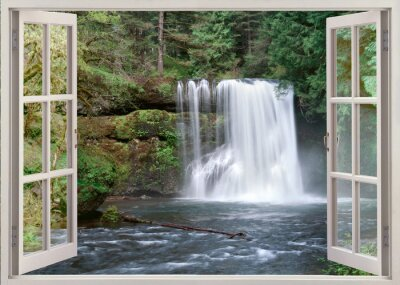 Adesivo Open window view to Upper Notrh Falls and river