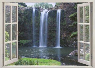 Adesivo Open window view to Whangarei Falls, Northland Region (North Island), New Zealand