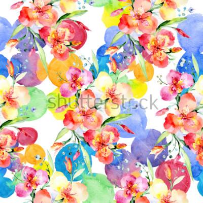 Adesivo Orange violas bouquet botanical flowers. Wild spring leaf wildflower. Watercolor illustration set. Watercolour drawing fashion aquarelle. Seamless background pattern. Fabric wallpaper print texture.