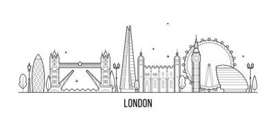 Adesivo Orizzonte di Londra, Inghilterra, vettore BRITANNICO delle costruzioni della città
