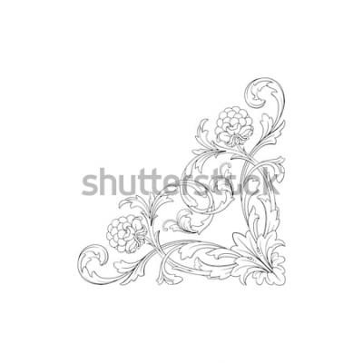 Adesivo Ornamento barocco con filigrana in formato vettoriale per design telaio, modello. Elemento floreale vittoriano o damasco disegnato a mano d'annata. Inchiostro inciso in bianco e nero art.