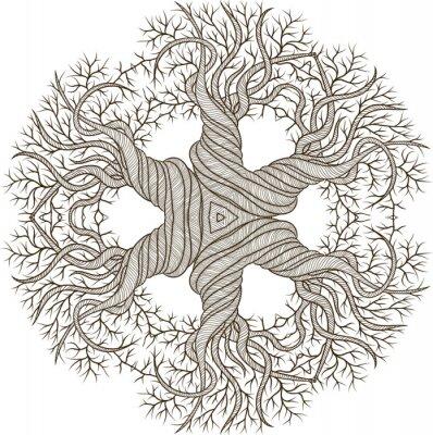 Adesivo Ornamento circolare da albero astratto con canna curling.