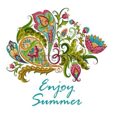 Adesivo Ornamento decorativo etnico Paisley per la stampa. Illustrazione disegnata a mano di disegno floreale.