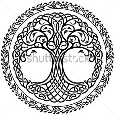Adesivo Ornamento di vettore, decorativo albero della vita celtico con bordo rotondo floreale
