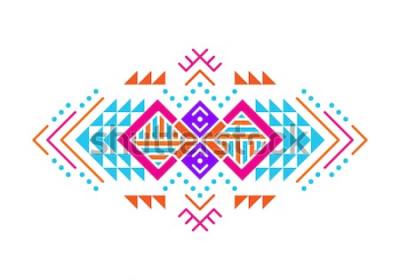 Adesivo Ornamento in stile azteco. Disegno del modello ornamentale indiano americano. Modello decorativo tribale. Ornamenti etnici Sfondo colorato.