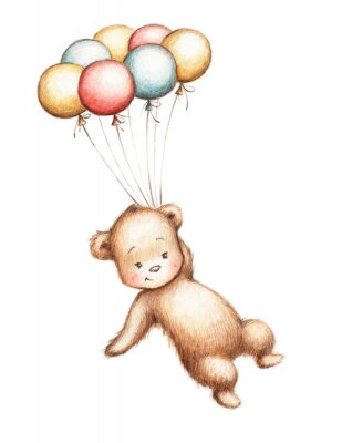 Adesivo Orsetto con palloncini
