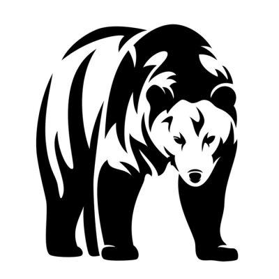 Adesivo orso disegno in bianco e nero