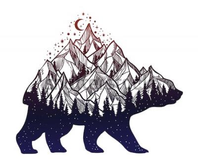 Adesivo Orso e notte foresta paesaggio montano, doppia esposizione, arte del tatuaggio della fauna selvatica, stile fantasy. Illustrazione vettoriale isolato