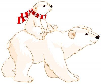 Adesivo Orso polare Mamma e bambino