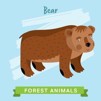 Adesivo Orso raster. Gli animali selvatici e forestali. Personaggi dei cartoni animati illustrazione. Animal divertente.