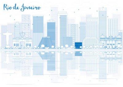 Adesivo Outline Rio de Janeiro skyline con edifici blu.
