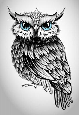 Adesivo Owl Lady - illustrazione vettoriale bella