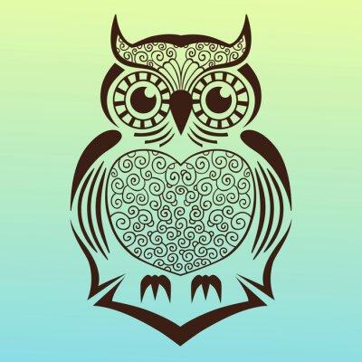 Adesivo owl.vector illustrazione.