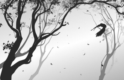 Adesivo Paesaggio con un gufo in volo