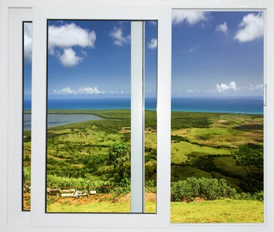 Adesivo paesaggio con una vista attraverso una finestra