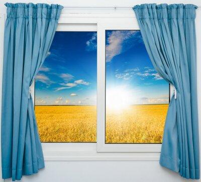 Adesivo paesaggio con una vista attraverso una finestra con le tende