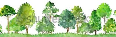 Adesivo paesaggio dell'acquerello con latifoglie, pini, cespugli ed erba, modello senza cuciture, fondo astratto della natura, confine della foresta, illustrazione disegnata a mano