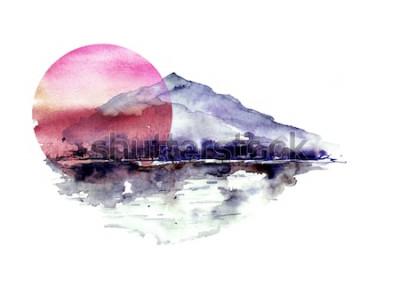 Adesivo Paesaggio della montagna dell'acquerello, montagne blu e viola, picco, siluetta della foresta, riflessione nel fiume, sole rosso di tramonto. Su sfondo bianco isolato. Su sfondo bianco isolato.