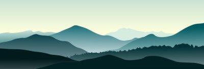 Adesivo Paesaggio di montagna al mattino d'estate. Illustrazione vettoriale orizzontale.