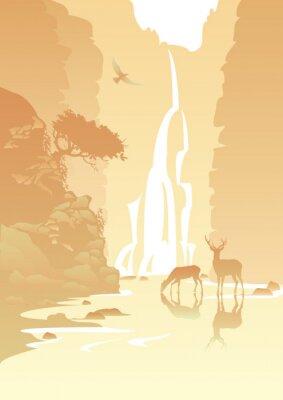 Adesivo paesaggio di montagna con una cascata