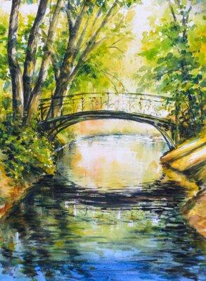 Adesivo Paesaggio estivo con ponte sul fiume in park.Picture creato con gli acquerelli.