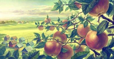 Adesivo Paesaggio estivo con rami di mele. Pittura digitale.