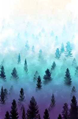 Adesivo paesaggio nebbiosa foresta