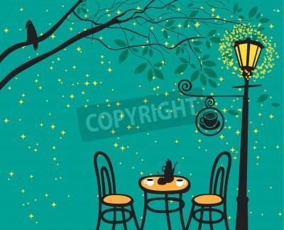 Adesivo Paesaggio notturno con la notte caffè nel lampione
