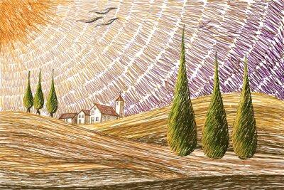 Adesivo Paesaggio toscano - concetto di pittura digitale