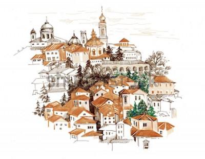 Adesivo Paesaggio urbano dell'acquerello con l'illustrazione delle case.