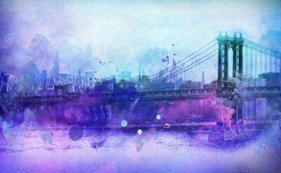 Adesivo Painterly Vista di New York Manhattan Bridge e il fiume