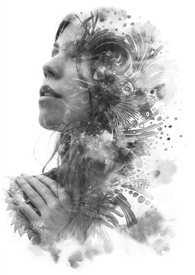 Adesivo Paintography. Double Exposure portrait of a young beautiful woman with hand on chest combined with hand drawn ink and pen drawing