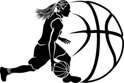 Adesivo Pallacanestro femminile Dribble Sihouette con palla