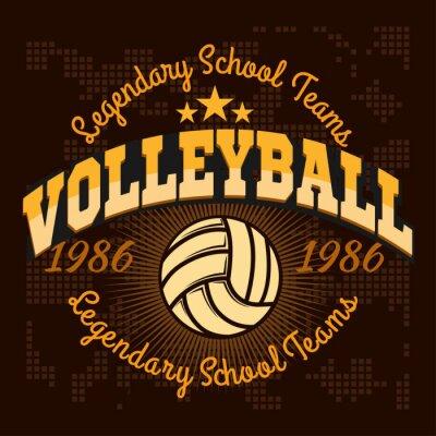 Adesivo Pallavolo campionato logo con la palla - illustrazione vettoriale.