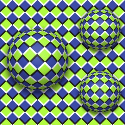 Adesivo Palle rotolano giù. Abstract vettore seamless con illusione ottica del movimento.