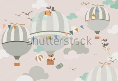 Adesivo palloncini nel cielo per le volpi in toni delicati