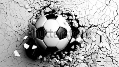 Adesivo Pallone da calcio che rompe con grande forza attraverso un muro bianco. Illustrazione 3D