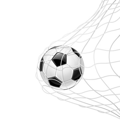 Adesivo Pallone da calcio in rete isolata. Vettore