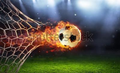 Adesivo Pallone da calcio infuocato in porta con rete in fiamme