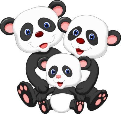 Adesivo Panda bear cartoon famiglia